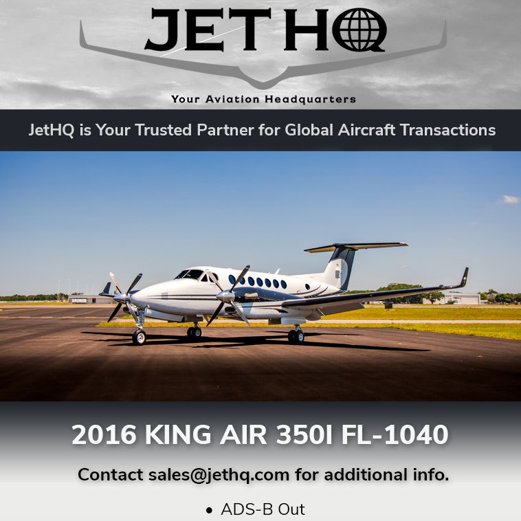 2016 #KingAir 350i available at @JetHQAv  ADS-B Out Collins Pro Line Fusion More details at: http://ow.ly/He9b30oZWVp   #bizav #bizjet #leaderluxury #luxurytravel #luxurylifestyle #privatejet