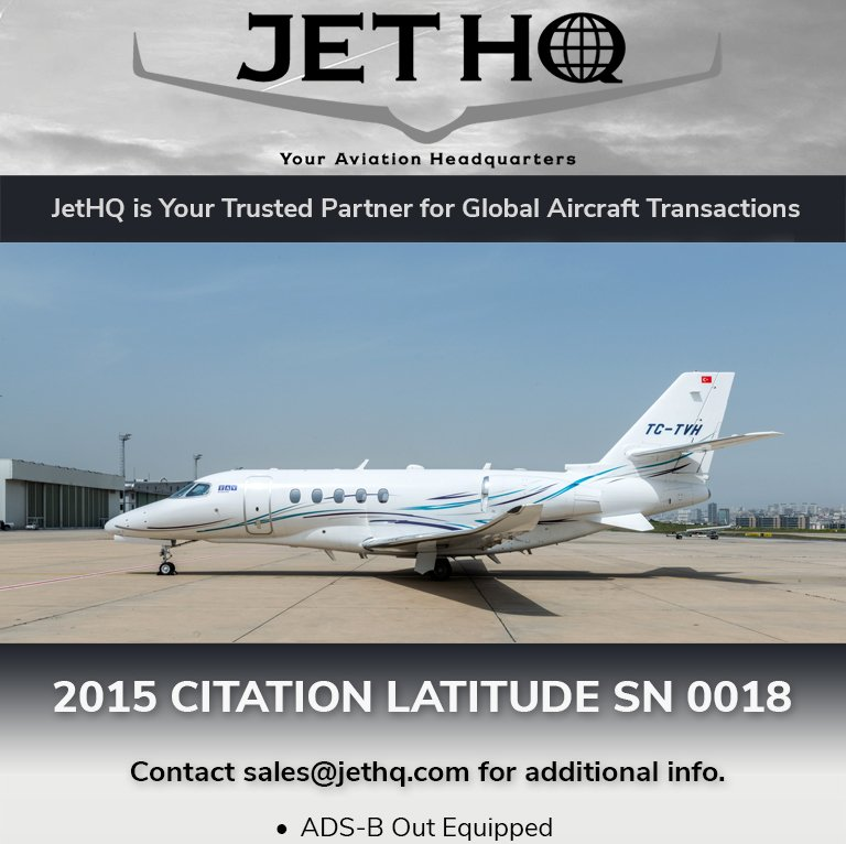 2015 #Citation #Latitude available at @JetHQAv  ADS-B Out equipped EASA certified More details at: http://ow.ly/jbWt30oZX8K   #bizjet #bizav #aircraftforsale #privatejet #privateflying #jetforsale #businessaviation