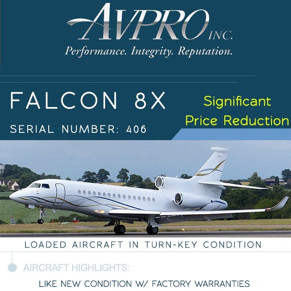 #Falcon #8X available at @AvproJets   Like new condition w/ factory warranties Engines on ESP & APU on MSP More details at: http://ow.ly/2Bjw30oZWTN   #bizjet #bizav #aircraftforsale #privatejet #privateflying #jetforsale #businessaviation
