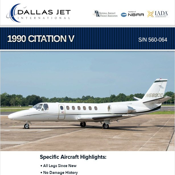 1990 #Citation V available at Dallas Jet No damage history Upgraded avionics More details at: http://ow.ly/8a4630oZX49   #bizav #bizjet #leaderluxury #luxurytravel #luxurylifestyle #privatejet