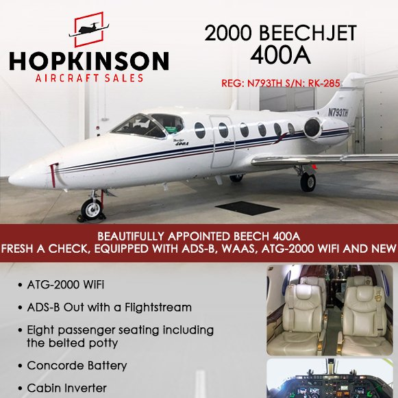 2000 #Beechjet #400A available at @HopkinsonACSale  ADS-B Out with a Flightstream New carpet in 2019 More details at: http://ow.ly/LT3d30oZWnN   #bizjet #bizav #aircraftforsale #privatejet #privateflying #jetforsale #businessaviation