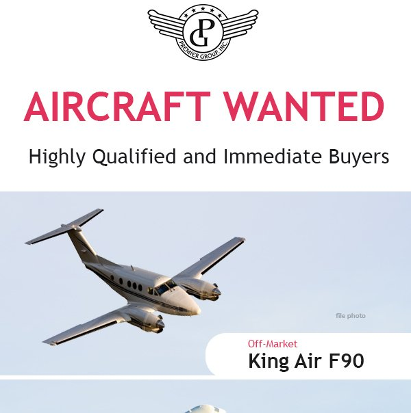 #KingAir #F90 , #Challenger #300, #Challenger #604 are only a few of the #aircraftwanted at Premier Group. Contact them today at: http://ow.ly/NRh330oZXad   #bizjet #bizav #aircraftforsale #privatejet #privateflying #jetforsale #businessaviation