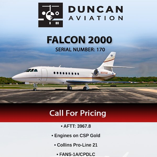 #Falcon 2000 available at @DuncanAviation  Collins Pro-Line 21 ADS-B Out More details at: http://ow.ly/VIZb30oZWst   #bizjet #bizav #aircraftforsale #privatejet #privateflying #jetforsale #businessaviation