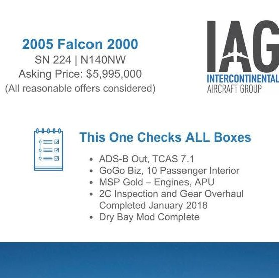2005 #Falcon 2000 available at @iagjets  2C inspection done January 2018 MSP - Gold - engines, APU More details at: http://ow.ly/Ztfm30oZWFa   #bizjet #bizav #aircraftforsale #privatejet #privateflying #jetforsale #businessaviation