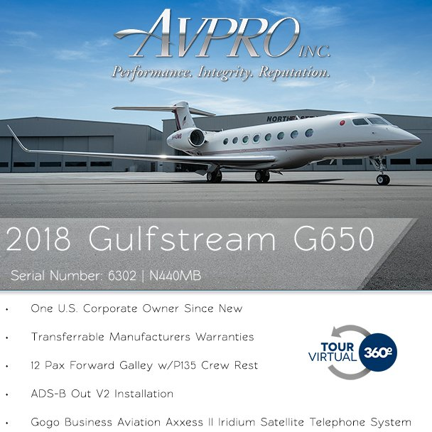 2018 #Gulfstream #G650 available at @AvproJets  Transferrable manufacturers warranties ADS-B Out V2 installation More details at: http://ow.ly/pLYI30oZWQ5   #bizjet #bizav #aircraftforsale #privatejet #privateflying #jetforsale #businessaviation