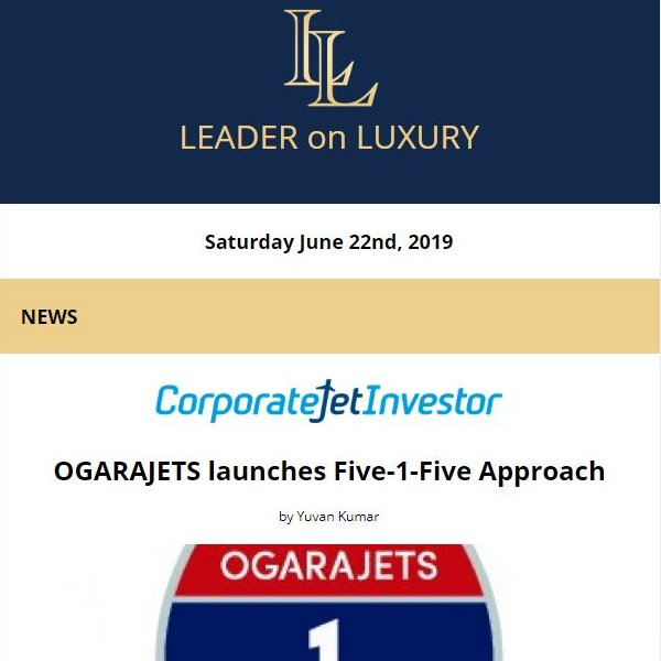 The latest from your Leader on Luxury is now available. Full newsletter at http://ow.ly/WcbH30oZXcy   Read the latest news, learn about upcoming events and our featured #aircraftforsale #yachtforsale listings!  #bizav #bizjet #leaderluxury #luxurytravel #luxurylifestyle #privatejet