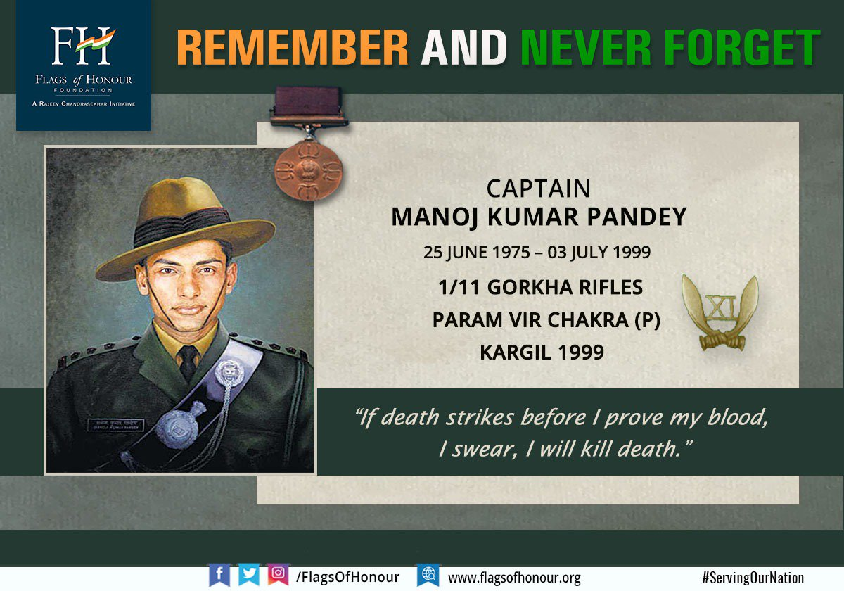 Remembering #ParamVir Captain Manoj Kumar Pandey #ParamVirChakra  (P) 1/11 Gorkha Rifles, on his birth anniversary today - 25 June 2019. #RememberAndNeverForget the Hero of Batalik, his service & sacrifice #ServingOurNation Read about him: http://bit.ly/2X5QvG5