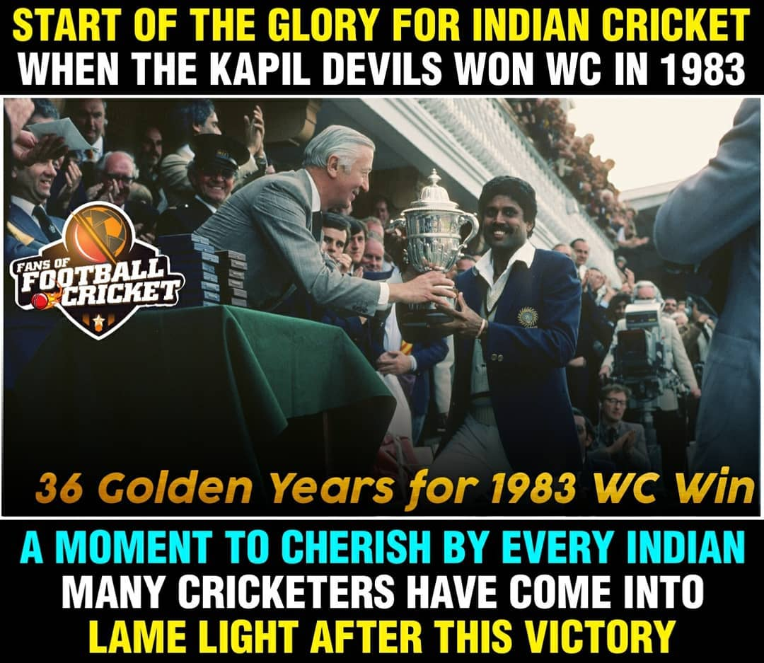 36 golden years of 1983world cup @cricketworldcup #Kapildev ❤️🇮🇳🇮🇳