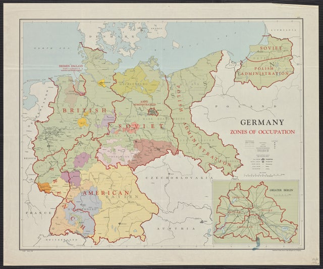 Map Of Germany Occupation Zones.Mapporn On Twitter Germany Zones Of Occupation 1946 Https T
