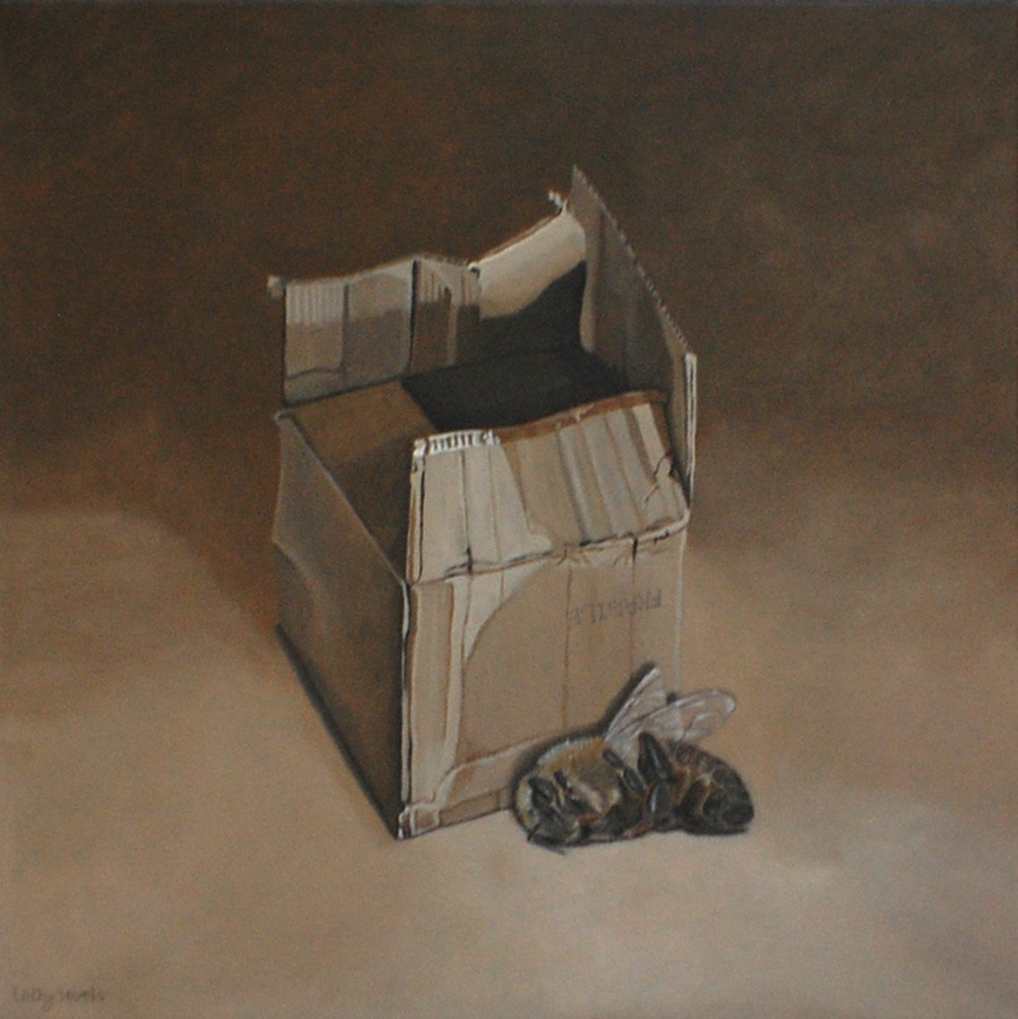 Is the box very small or the bee very large? ;-) http://dld.bz/hsmAd #surrealism painting #bees