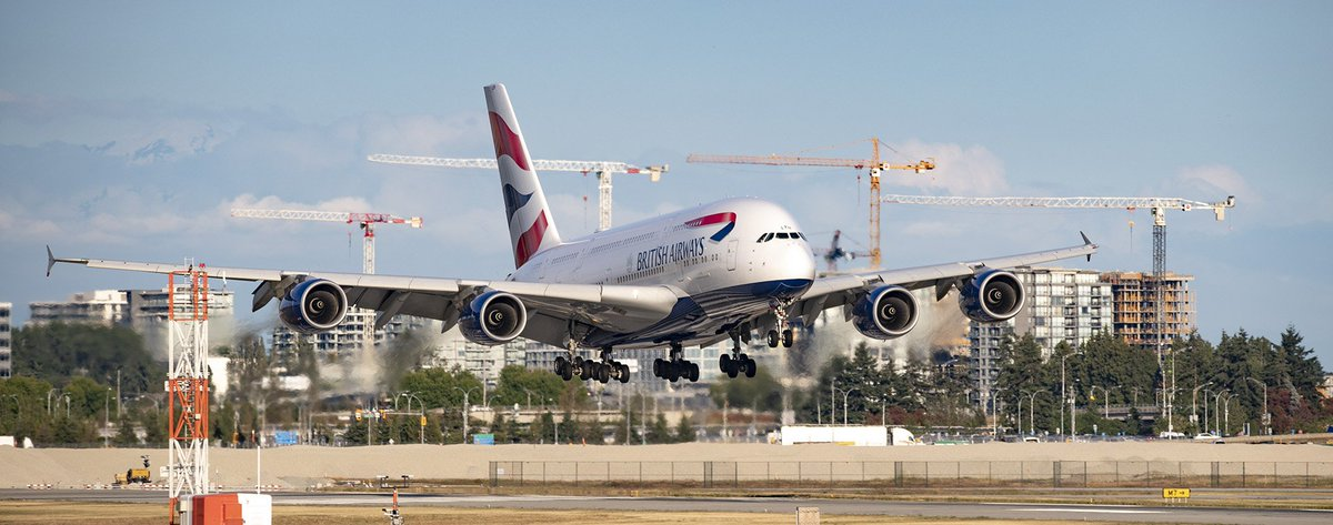 This @DaveWallsworth arrival was well documented. If you haven't done so already, check seaislandspotter's Instagram video. @British_Airways Speedbird 5VY arrival @yvrairport from London - Heathrow. #GXLEH #LEHulk Airbus A380 #yvrspotters #Vancouver <br>http://pic.twitter.com/x4JLZOvQFR