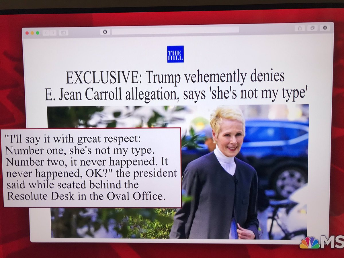 """Disgusting #Trump response to credible #rape allegation: """"I'll say it with great respect. Number one, she's not my type. Number two, it never happened. OK?""""  @MorningMika: So what kind of woman is """"your type"""" to rape? And @GOP, why do you still support him? #MorningJoe #Sick<br>http://pic.twitter.com/eEbKsTRlIh"""