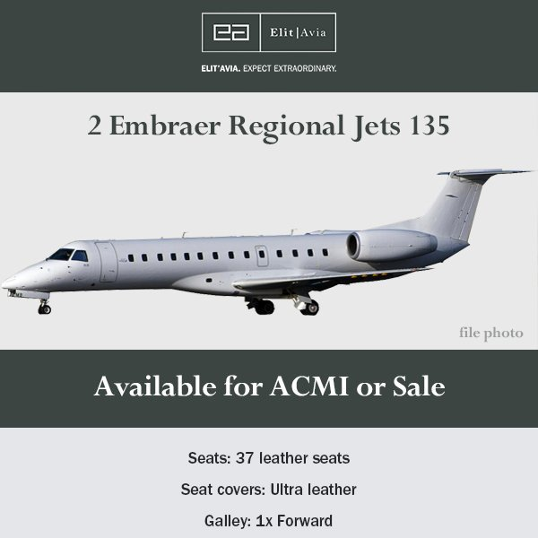 #ERJ 135s available for ACMI / sale through Elit'Avia  Seats: 37 leather seats Seat covers:  Ultra leather For more information, please contact Nick Houseman via nick.houseman@elitavia.com  #bizjet #bizav #aircraftforsale #privatejet #jetforsale #businessaviation #charter #sales