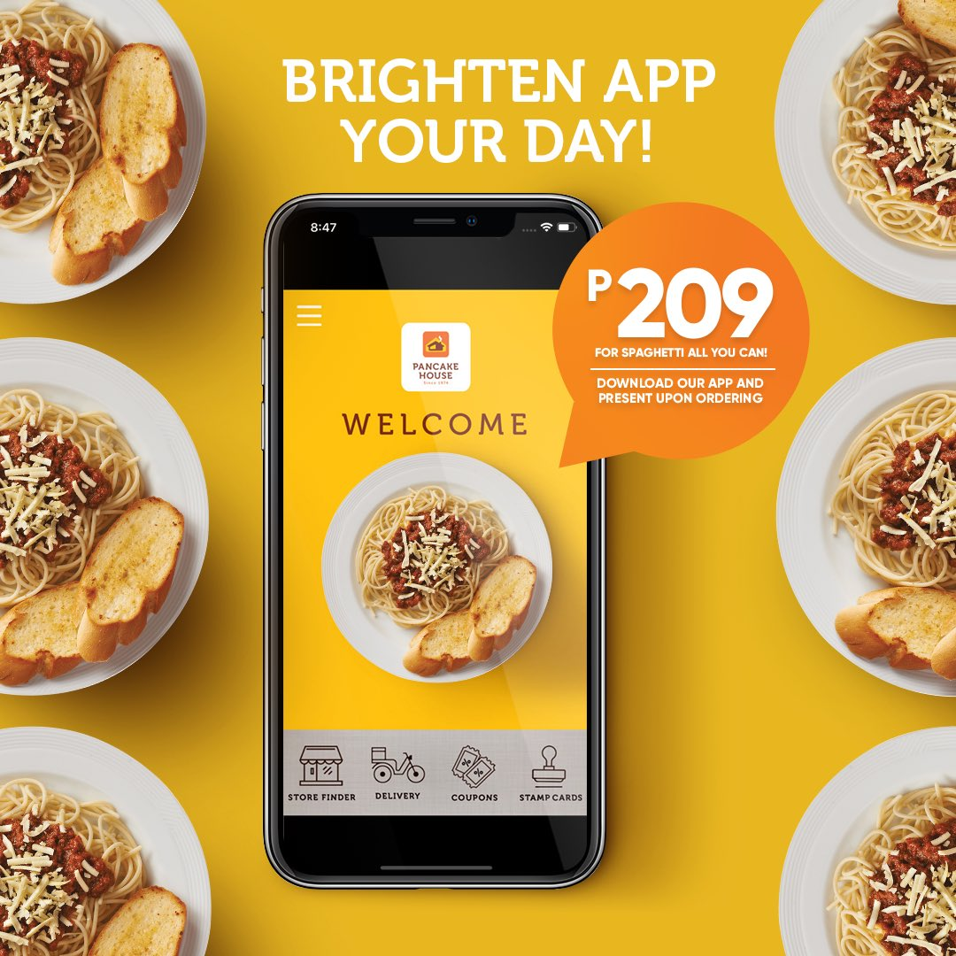 Unlimited and discounted! Download the Pancake House App to pay only P209.00 for Spaghetti All You Can!  Just show the app when you order. #ChooseToFeelGood https://t.co/m2OAArXlis