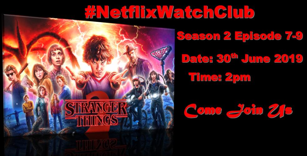 💻 #NetflixWatchClub is HERE🎥 Join us on the 30th of June, Sunday @ 2pm {South African Time SAST} for our viewing of #StrangerThings Season 2 Episode 7-9 ❤️! We will be watching this amazing series in anticipation of the release of Season 3! #StrangerThings3 ✅DM to Join