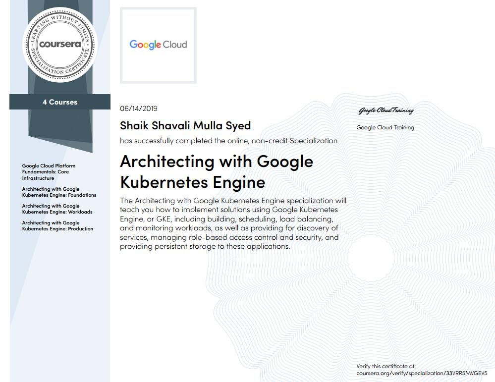 """Finally!! After completing 131 videos, 29 quizzes and 26 practical labs, achieved """" Architecting with Google Kubernetes Engine"""" Specialization. Happy :)) @googlecloud #gke #kubernetes"""