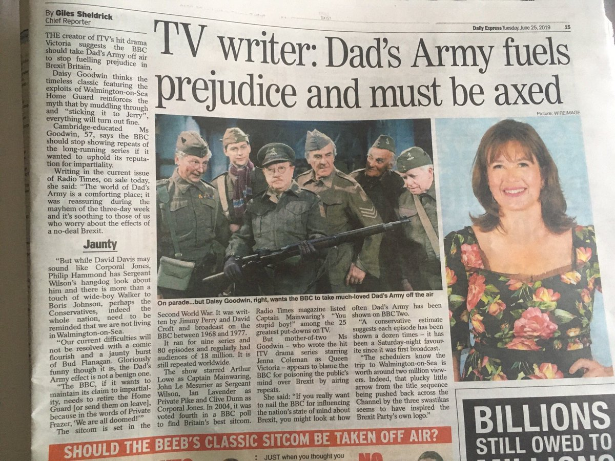 Yes, let's axe #DadsArmy . Let's ban #FawltyTowers , #ItAintHalfHotMum and any comedy series from the past that actually made millions of people laugh. Instead let's have Jo Brand making 'jokes' about throwing acid at people. That's far more 'enlightened'. Ok, yah? #SARCASM