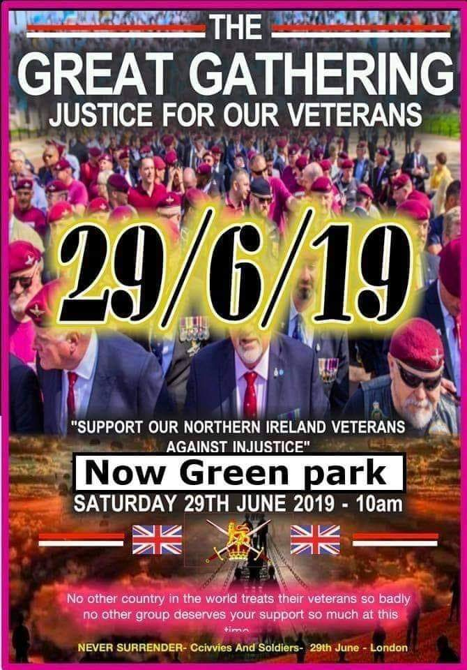 The Great Gathering in support of Soldier F and Soldiers A-Z. Come along for a great day out in the Capital and meet some amazing people & Veterans. Will you be there @PennyMordaunt @Tobias_Ellwood @JohnnyMercerUK ?? Cause we will @Justice4NIvets @MarchJfniv @HowardD96763282
