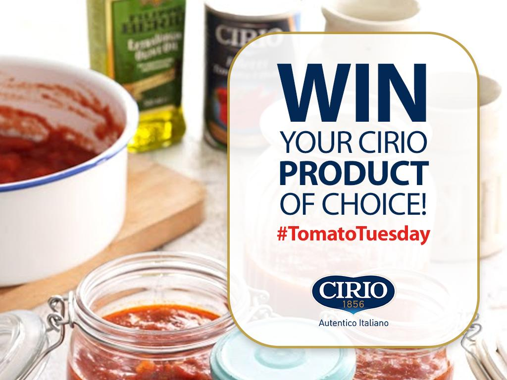 It's #TomatoTuesday! For your chance to #win the Cirio product of your choice, simply: RT this tweet, follow @ciriouk & comment using #TomatoTuesday! T&Cs apply #competition #win<br>http://pic.twitter.com/BxkCiAUGI3