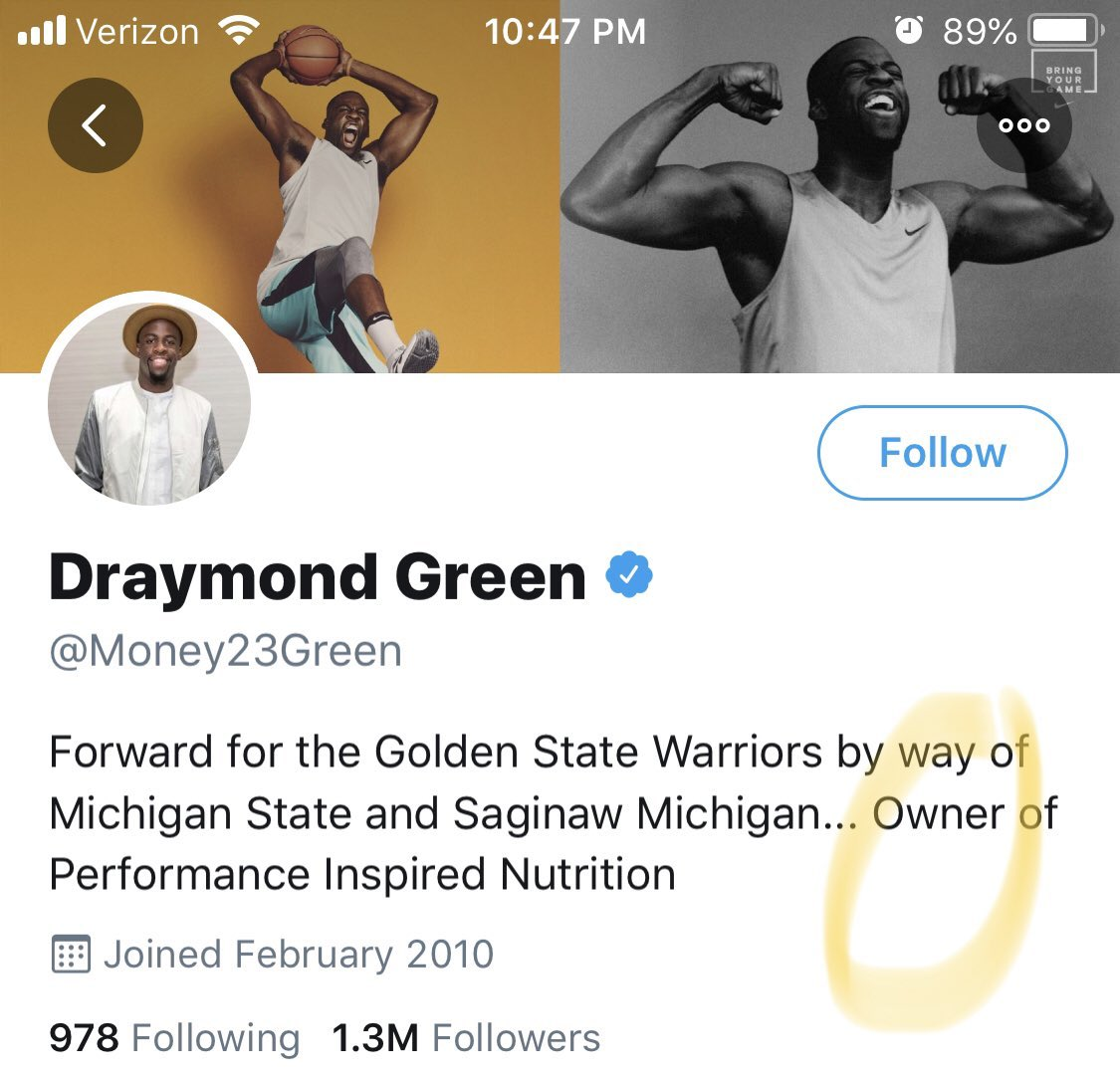 Draymond Green, who said he found the word owner racially insensitive and helped to lead the NBA to refer to all team owners as governors now, says he's an owner of a business in his Twitter bio. You can't even make this stuff up.