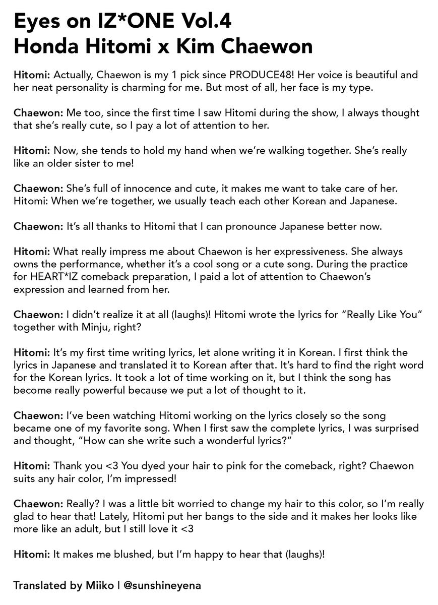 Eyes On IZ*ONE Vol.4 Kim Chaewon x Honda Hitomi Non-no Interview (The scan was blurry so there might be a lot of inaccuracies) #IZONE #아이즈원 #アイズワン #김채원 #KimChaewon  #혼다히토미 #HondaHitomi<br>http://pic.twitter.com/cktZ6Yv0TG