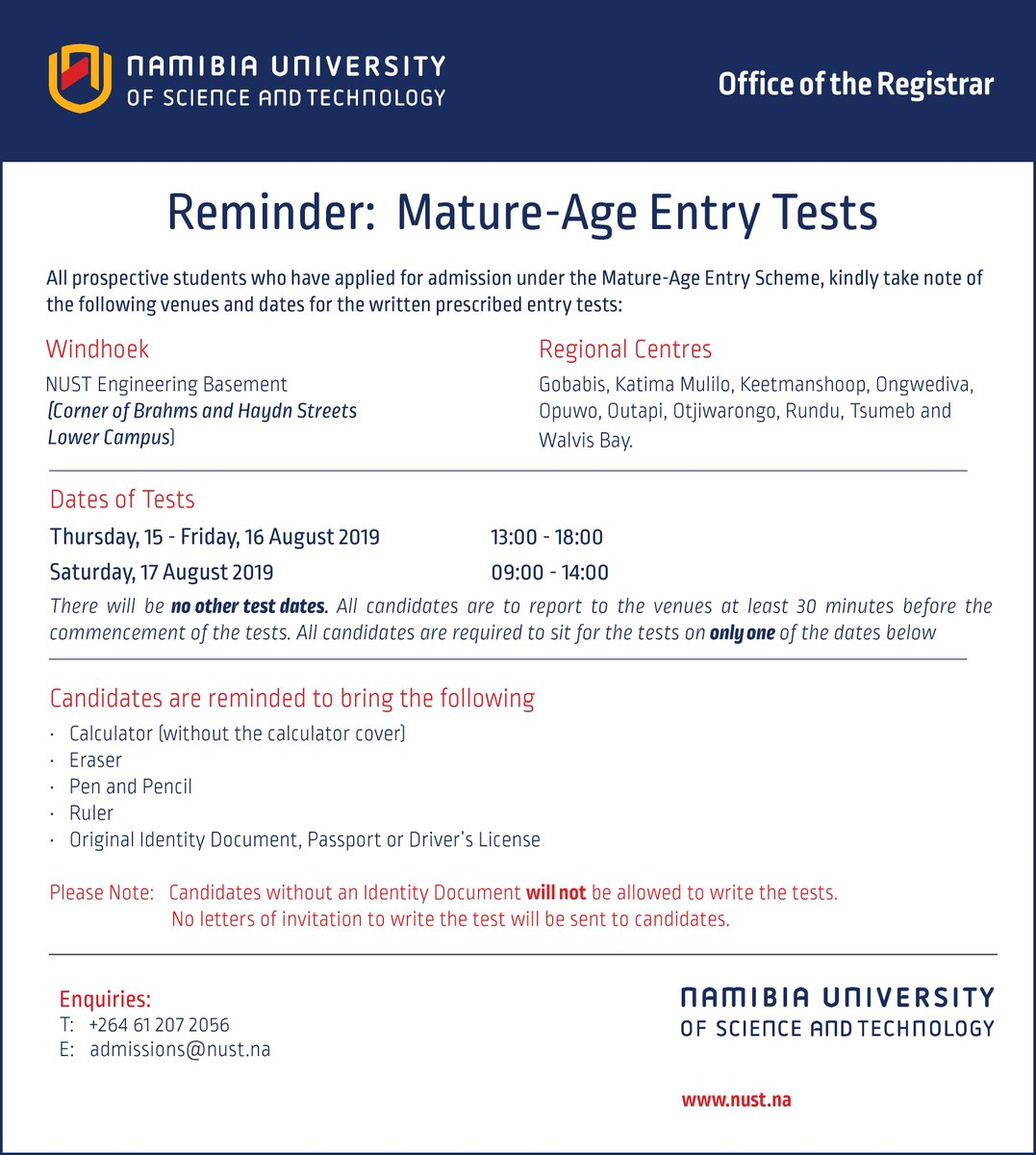 Nust Entry Test 2019 Dates