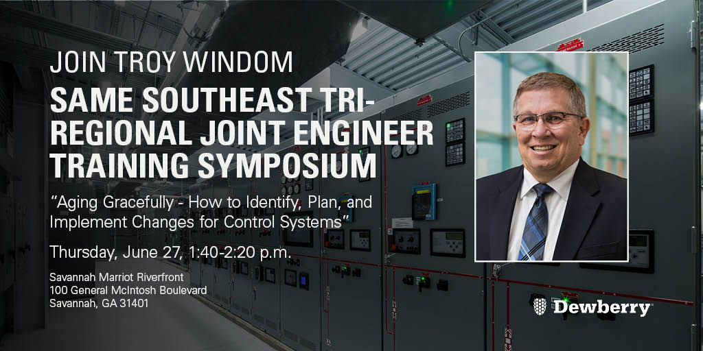On Thursday Troy Windom will share expertise on control system migration paths and important considerations during a #controlsystem replacement at the 2019 SAME Southeast Tri-Regional Joint Engineer Training Symposium in #Savannah, GA: https://lnkd.in/dUVzn4x #engineering  #MEP