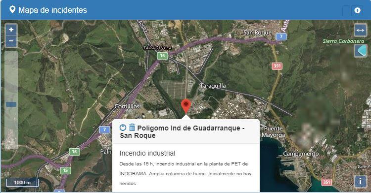 Desde las 15h, un amplio operativo de Emergencias trabaja en la extinción de la Planta de #INDORAMA en el #PoligonoGuadarranque de #SanRoque. La zona ha sido desalojada. Consulta SOLO Fuentes Oficiales. #Cádiz #Andalucía #112 #VOST #IncendioSanRoque @E112Andalucia