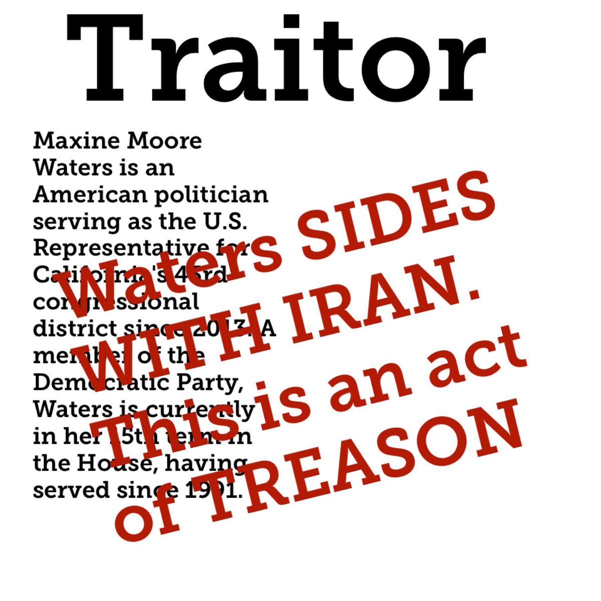 We can not allow thIS TRAITOR to represent ANY AMERICAN https://hannity.com/media-room/maxine-meltdown-rep-waters-sides-with-iran-says-us-drone-violated-tehrans-airspace/… MAKE THIS STOP. DO SOMETHING #VOTE @RealOmarNavarro