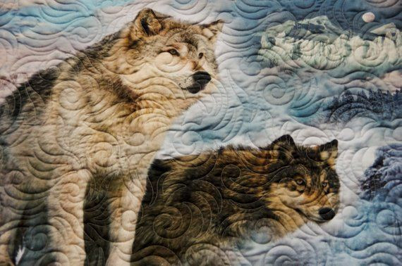 What a breathtaking #Quilt!  Love these #Wolves on a #Moonlight #night #scenic #minkyQuilt!  Perfect for #Birthday, #Giftsforhim #GiftsforHer #GiftsforTeens #ModernQuilt #handmade #Gifts make the best #Giftideas! https://buff.ly/2CTHkg4