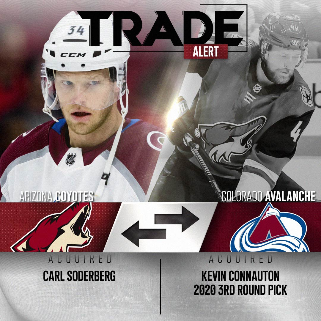 TRADE ALERT: The #Coyotes have acquired center Carl Soderberg from the Avalanche in exchange for defenseman Kevin Connauton and a 2020 third round draft choice. → atnhl.com/2YcWSDU