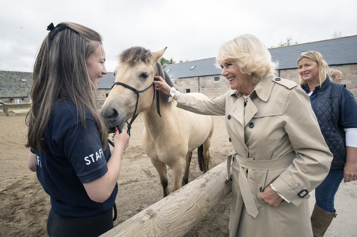 Today, The Duchess of Rothesay, as The Duchess of Cornwall is known when in Scotland, carried out engagements in Aberdeen.  HRH first visited @HorseBackUK, who deliver mental and physical rehabilitation, predominantly to the military, via horsemanship and outdoor activities.<br>http://pic.twitter.com/lhwW2SsF3x