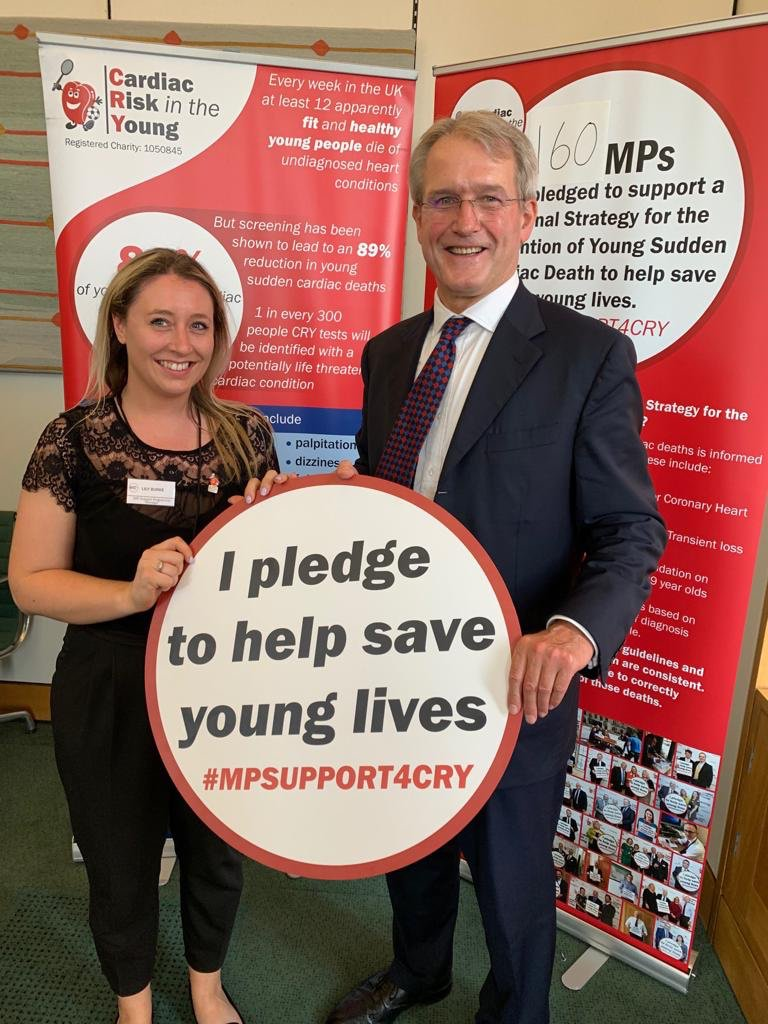Good to meet @CRY_UK for #MPSUPPORT4CRY. 12 young people die every week with an undiagnosed heart condition, but effective screening can reduce this by up to 89%.