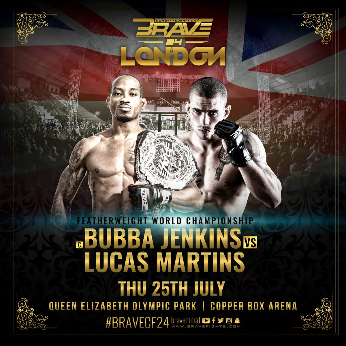 A high-class fight night calls for a high-class main event! We've got a headliner for BRAVE 24: London. Featherweight world champion @BubbaJenkinsMMA makes his first title defense against former Lightweight kingpin @LucasMineiroMMA at the main event of the evening! #BRAVECF24