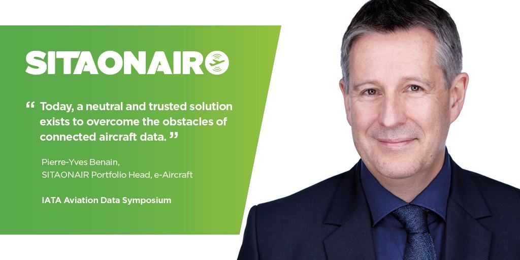 Check out the Challenges & Opportunities with data from connected aircraft panel discussion starting soon at the @IATA Aviation Data Symposium, with SITAONAIR's Portfolio Head, e-Aircraft, Pierre-Yves Benain #avgeek