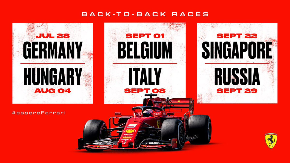 As we head into the 2nd part of our first @F1 double header, check out the other back-to-back races still to come this season  #essereFerrari <br>http://pic.twitter.com/HTy134wu1x