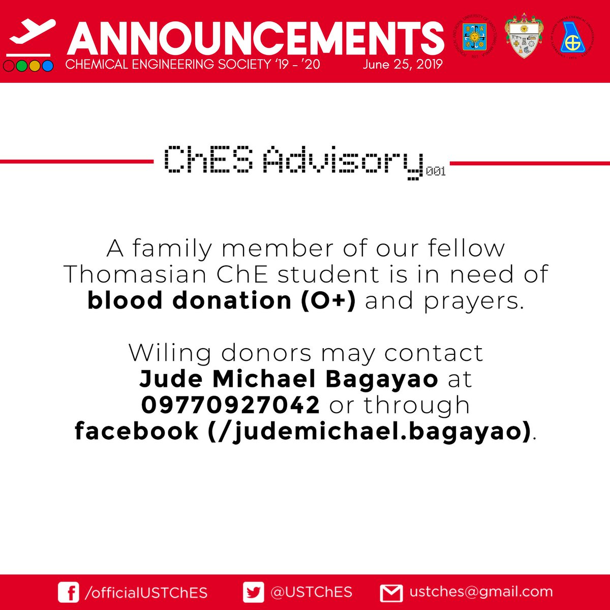 """URGENT CALL FOR BLOOD TYPE """"O+"""" DONOR. This is for Jude Michael Bagayao's mother who is in the hospital at the moment. If you are willing to donate, please contact Jude Michael Bagayao using the info below.  Let's include their family in our prayers for a speedy recovery."""