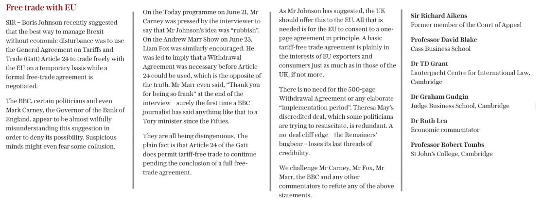 This letter in the Telegraph has undisputed legal authority. It demolishes the mischief-making which has been generated over Article 24 of the GATT agreement.