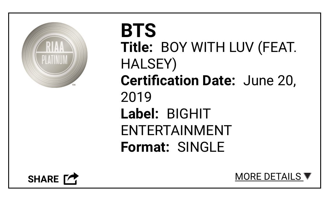 Glad to see that the RIAA made this correction. Congrats again to @BTS_twt and @Halsey for Boy with Luv going platinum.