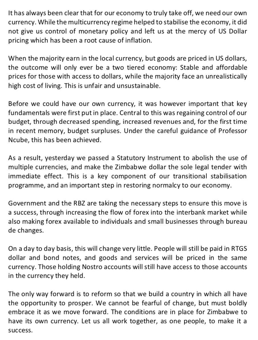 'THIS IS AN IMPORTANT STEP IN RETURNING NORMALCY TO OUR ECONOMY,' MNANGAGWA SPEAKS ON NEW MONETARY POLICY