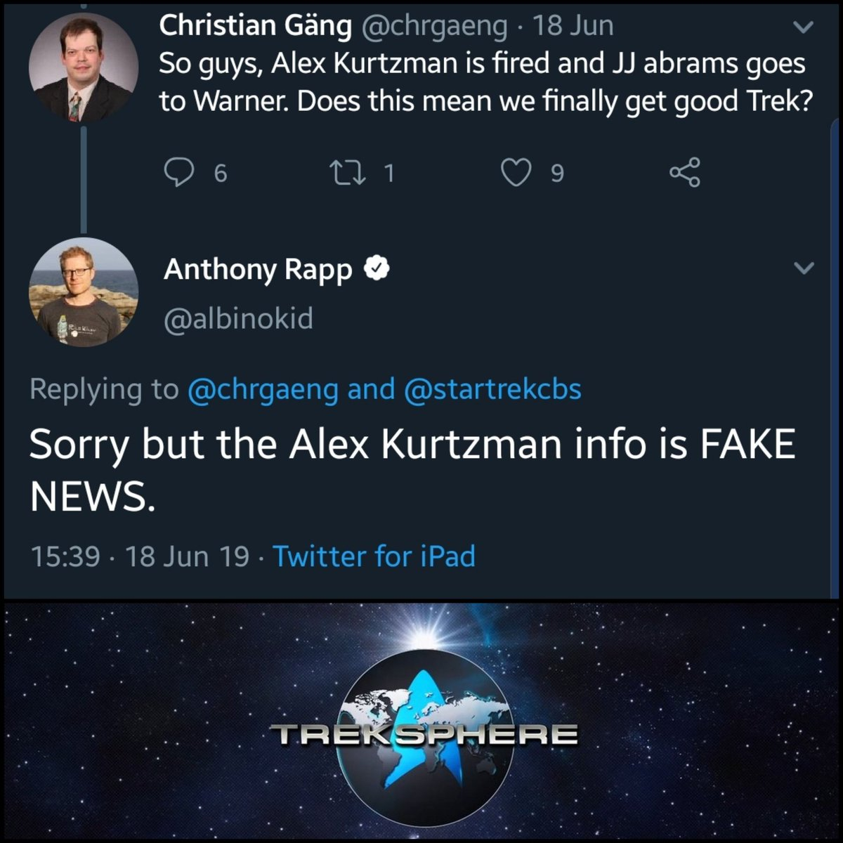 @albinokid thanks for this... For anyone still thinking that the rumour regarding Alex Kurtzman is real... Guess again... #StarTrek #StarTrekPicard #StarTrekDiscovery
