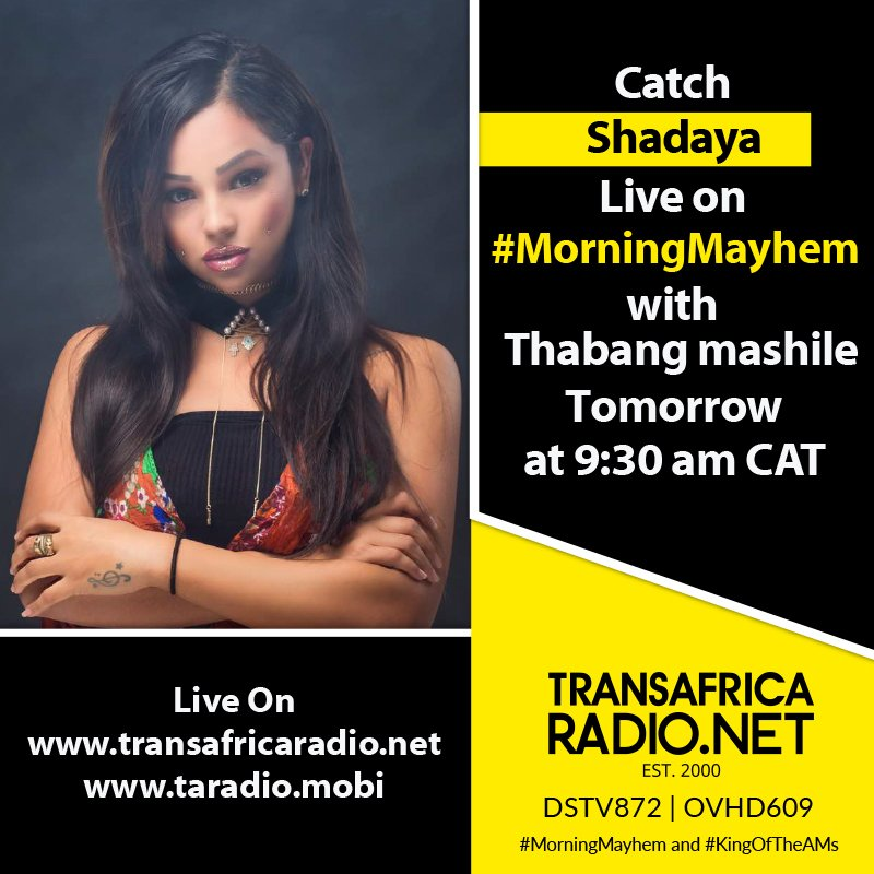 Catch @Shadayazaher on the #MorningMayhem at 09:30 AM CAT tomorrow. Talking about music and more with the King @therealmashile @TransAfrica872 #WednesdayMotivation #DSTV872 #OVHD609