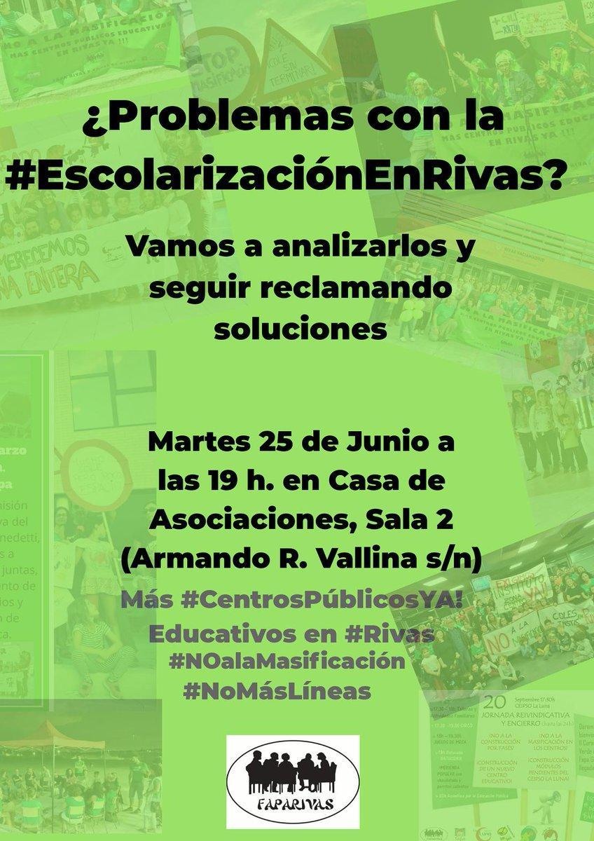 Este martes a 19 horas tenemos una cita en la Casa de las Asociaciones de #Rivas para hablar de los problemas y soluciones de la #EscolarizaciónEnRivas, con nuestras compañeras de la @FAPA_rivas