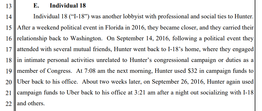 """DOJ says Rep. Hunter billed his campaign for an Uber in 2016 after he spent the night at the home of yet another Washington lobbyist, """"where they engaged in intimate personal activities unrelated to Hunter's congressional campaign."""""""