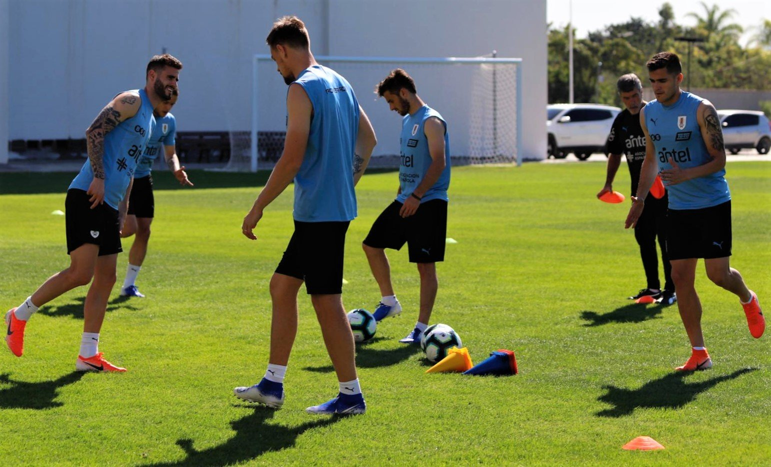 The Uruguayan Soccer team is already training for the momentous match with Peru on Saturday.