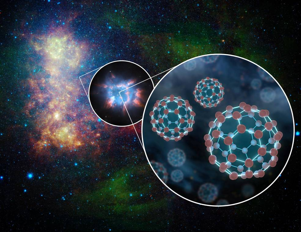 Scientists using Hubble have confirmed the presence of electrically-charged molecules in space shaped like soccer balls, shedding light on the mysterious contents of the interstellar medium – the gas and dust that fills interstellar space: go.nasa.gov/2Yg5NVg