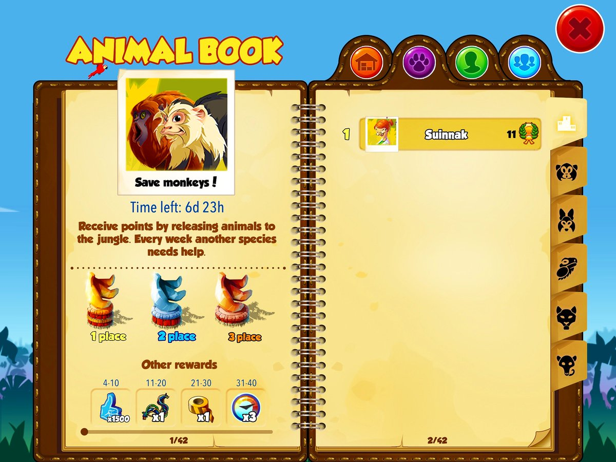 Let's start new #weeklycompetition  #savemonkeys  #Releaseanimals back to the#jungle, first #monkeys #released . #JungleGuardians #savetheamazon #savetherainforest #saveanimals #animalcare #animalconservation #rescuecenter #wildanimals #nature  #game #mobilegame #pcgame