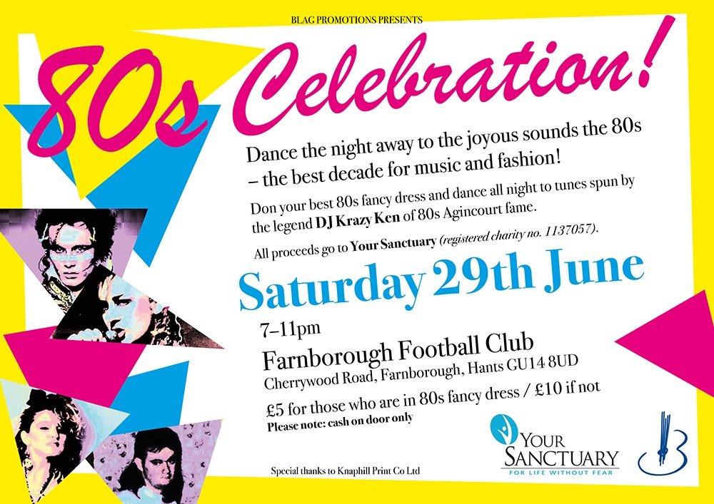 Come down to @FarnboroughFC on #saturdaynight and enjoy an 80's #disco. All in aid of @yourSanctuaryUK . #dance and #support
