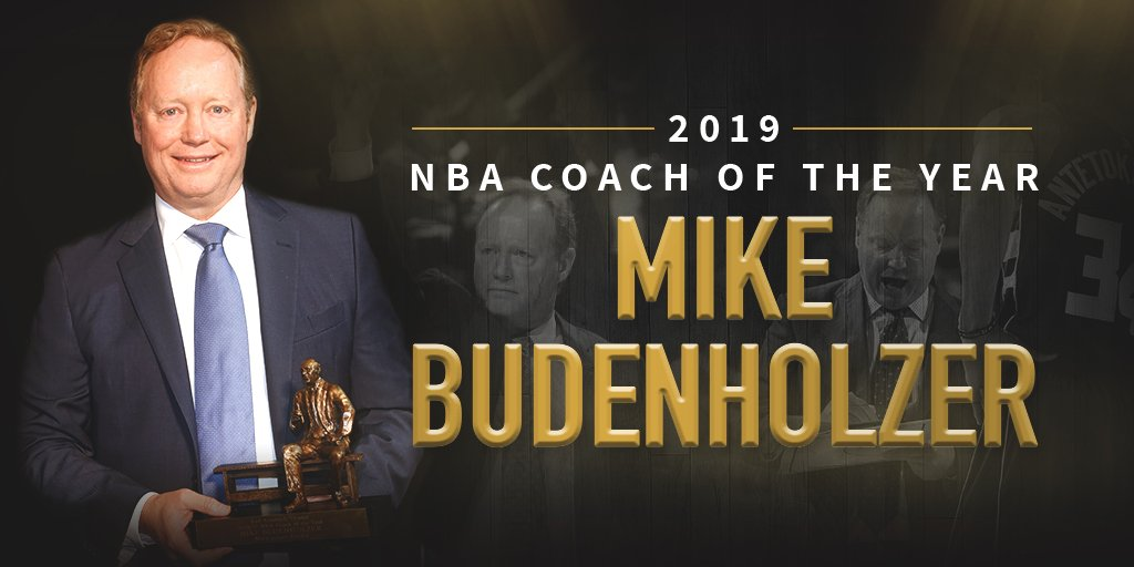 Congratulations to @Bucks Head Coach Mike Budenholzer on earning the 2019 @NBA Coach of the Year Award! Coach Budenholzer is the second coach in franchise history to be named Coach of the Year.  Click here to read more: http://ow.ly/aGVh50uMNkk