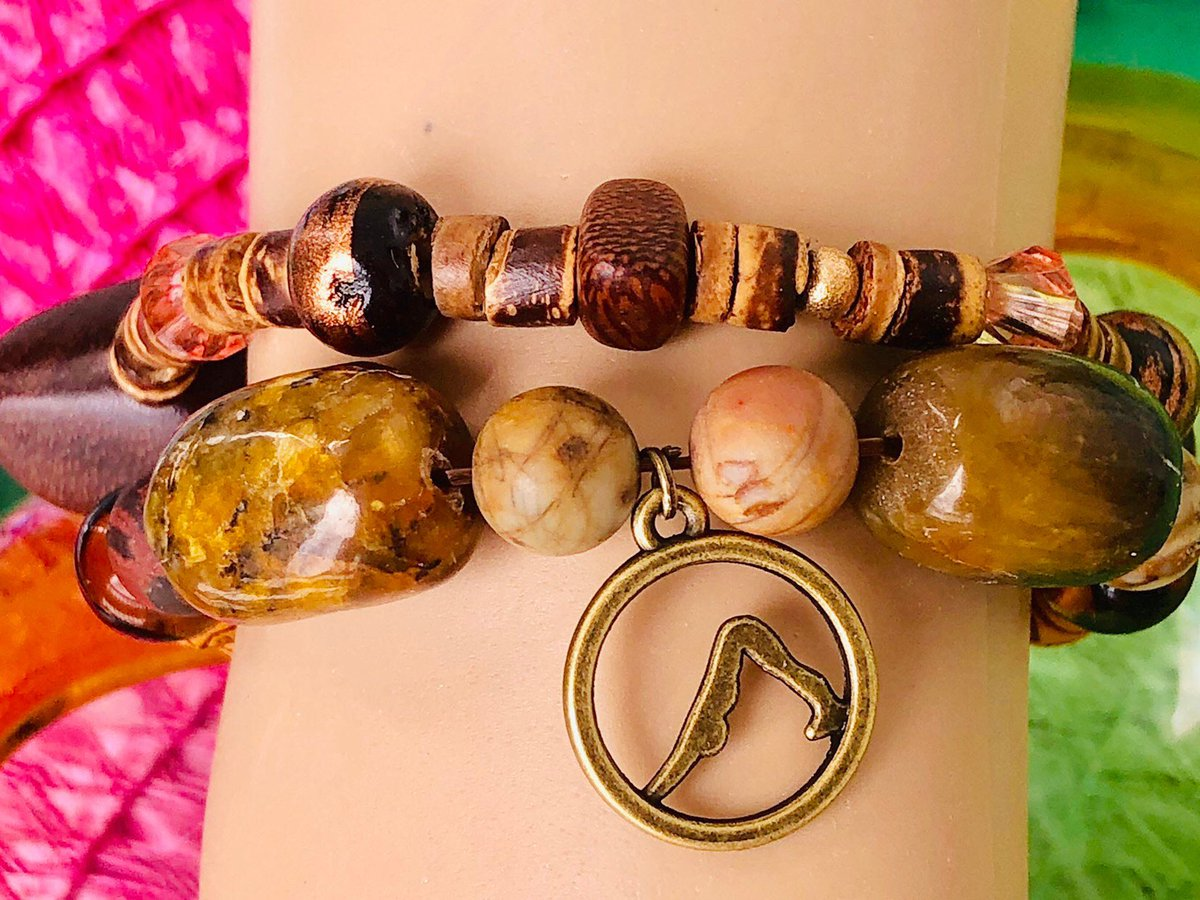 Excited to share this item from my #etsy shop: #Yoga charm bead and wood antique bead bracelets  #sanskrit #lava   https://etsy.me/2RFUi72  #animalposes pic.twitter.com/4M7PZL9sTG